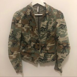Free People Camo Fitted Blazer Size 0